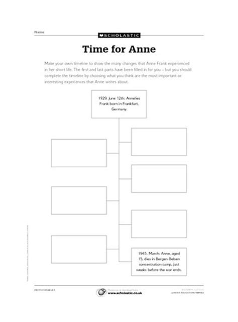 anne frank biography worksheet timeline of anne frank s life free primary ks2 teaching