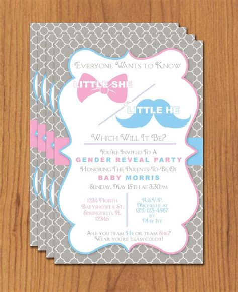 Bow And Mustache Gender Reveal Editable Template Microsoft Word Format Reveal Parties Gender Reveal Invitation Template