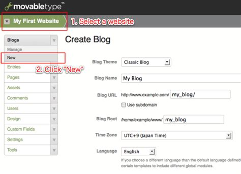 build blog movabletype org documentation creating a new blog