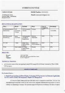 Technical Resume Format For Freshers by M Tech Fresher Resume Format