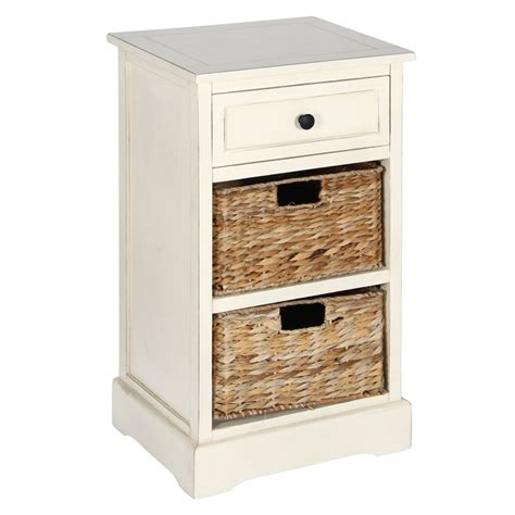 drawer storage units cream wood 1 drawer 2 basket storage unit duck barn