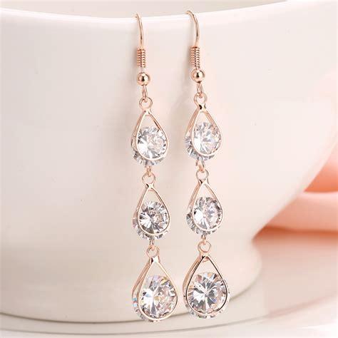2016 fashion earrings for golden rhinestone
