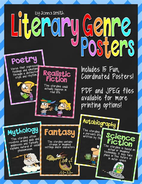 printable genre labels 97 best my store musings from the middle school on tpt