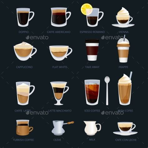 what are the different types of coffee mugs with pictures mugs with different type of coffee espresso by onyxprj