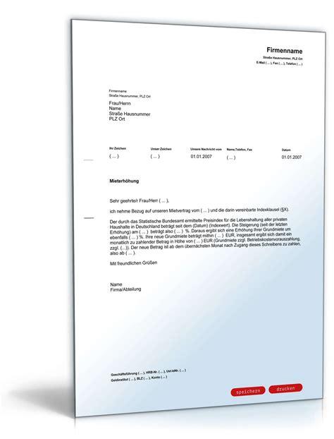 Musterbrief Bearbeitungsgebühr Kredit Zum Ausdrucken Mieterh 246 Hung Indexmiete Rechtssicheres Muster Zum