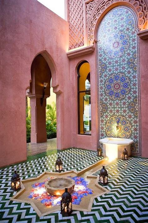 Morrocan Home Decor Moroccan Decor For Outdoor Design With Pink Wall Paint Idea Pinned By Chirenovation Www