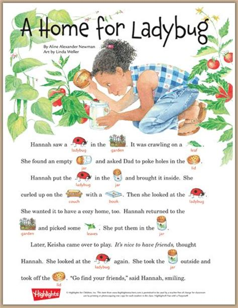 printable toddler stories a home for ladybug a rebus story learning garden