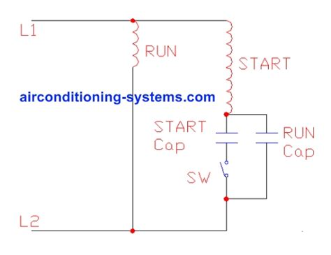 capacitor start capacitor run schematic air conditioner motors