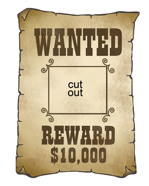printable wanted poster template free cowboy cutouts martha stewart