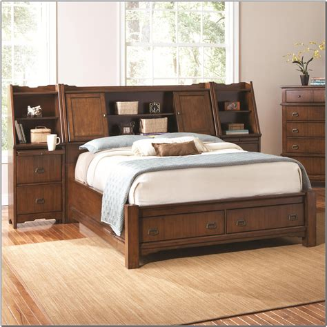 Bed With Storage And Headboard by King Storage Bed With Bookcase Headboard Beds Home