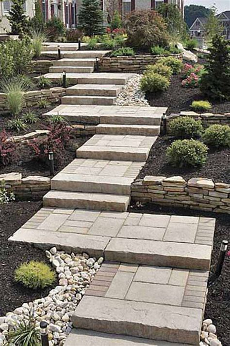 how to make a sloped backyard flat 25 best ideas about garden stairs on garden