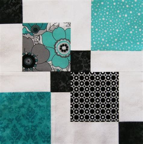 Black And White Quilt Kits by Pre Cut Quilt Kit Black White Turquoise Fabric Easy Block