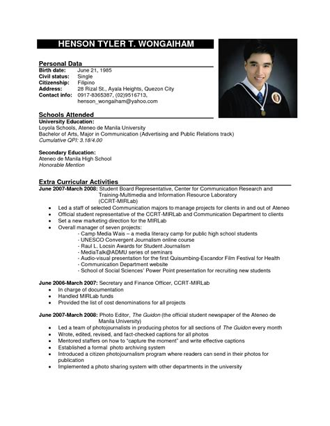 exles of resumes sle resume basic college students