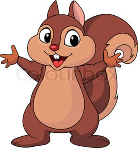 vector illustration of squirrel cartoon waving hand