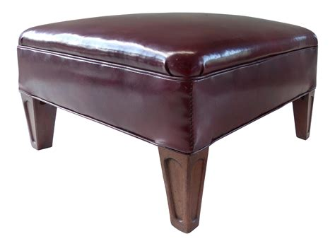 burgundy storage ottoman 1940 s burgundy leather footstool ottoman chairish