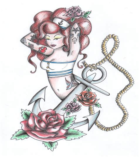 pin up mermaid tattoo designs colorful pin up mermaid with beaded anchor design