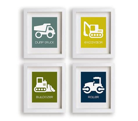 truck nursery decor construction site set of four truck prints nursery decor