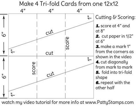 tri fold single card template how to make a tri fold card using 12x12 cardstock