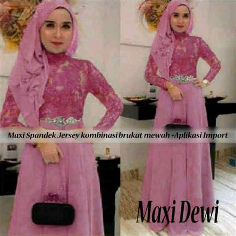 Fashion Muslim Maxi Brukat Rosalinda Maroon Murah dress kebaya modern murah maxi dewi ryn