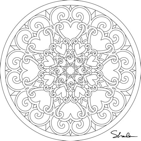 Mandala Coloring Pages To Print For Free free printable hearts mandala coloring page coloring home