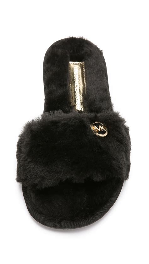michael kors house shoes michael michael kors jet set faux fur slide slippers black in black lyst