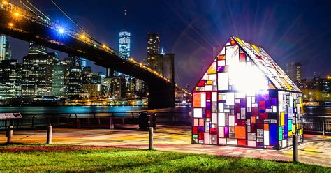 tom fruins stained glass house installed  brooklyn bridge park colossal