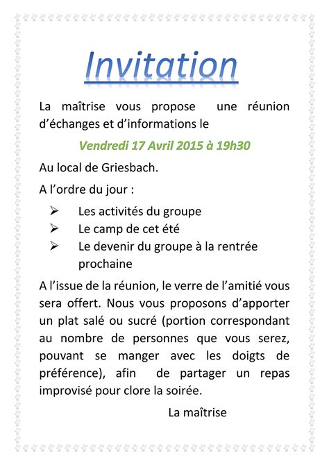 Modèle De Lettre D Invitation Pour Une Reunion Modele Invitation Reunion Parents Document