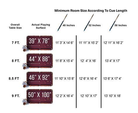 pool table sizes chart pool size chart asli aetherair co
