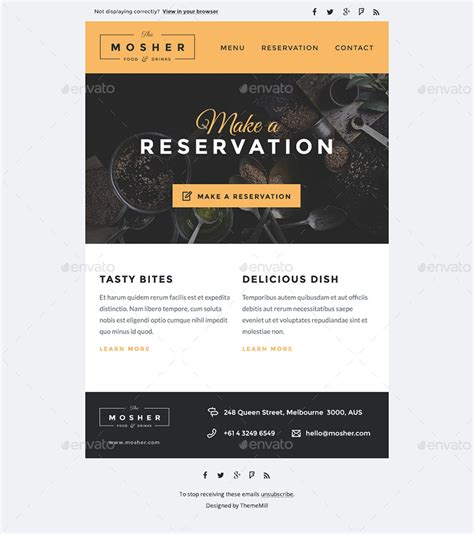 mosher restaurant e newsletter psd template by thememill