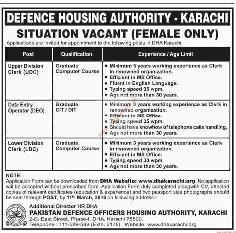 housing authority jobs defence housing authority jobs dawn jobs ads 06 march 2016 paperpk