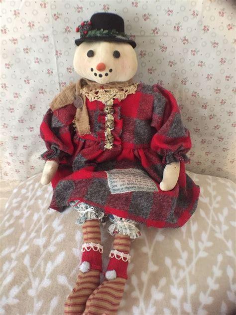 Handmade Primitive Dolls - handmade snow primitive doll primitive snowman primitive