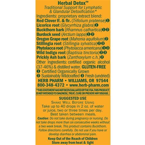 Herbal Detox Herb Pharm Reviews by Herbal Detox 1 Fl Oz Health Store Vitamins