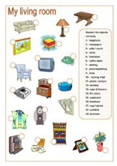 Living Room Vocabulary Worksheet Living Room Matching Part B