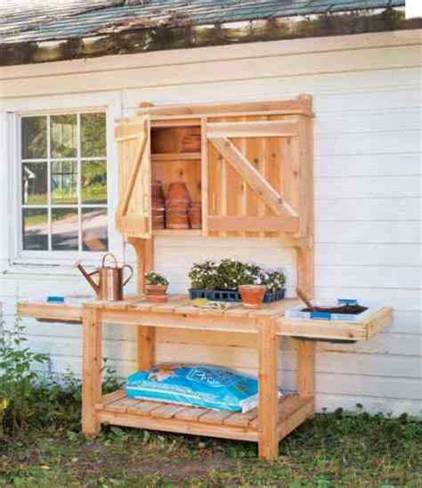 outdoor potting bench plans diy potting bench plans diy mother earth news