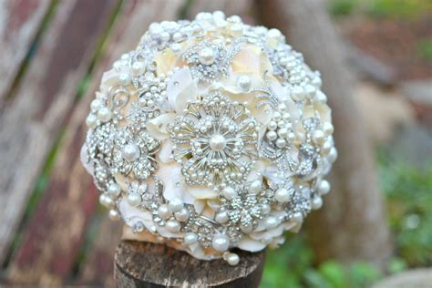 Handmade Brooch Bouquet - pearl wedding accessories handmade etsy wedding finds