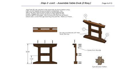 trestle picnic table plans sure eight picnic table plans
