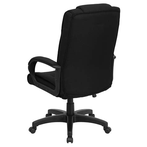 high  black fabric executive swivel office chair  arms inset