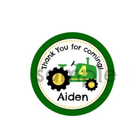 personalized tractor theme thank you tag or sticker 2