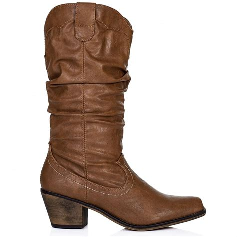 buy emilie heeled slouch calf western boots leather