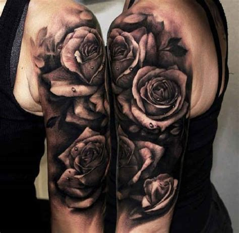 black and white rose tattoos on shoulder roses black white water drops arm http tattootodesign