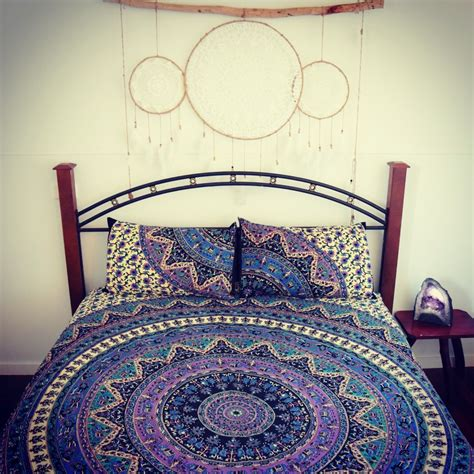 hippie bedding multi positive vibes kerala medallion mandala duvet covers with set of 2 pillow cover