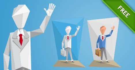 Character Origami - origami businessman in a suit vector characters
