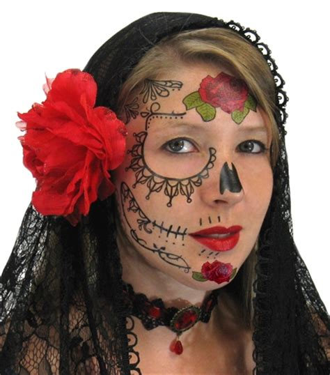 day of the dead temporary tattoos lace sugar skull day of the dead temporary
