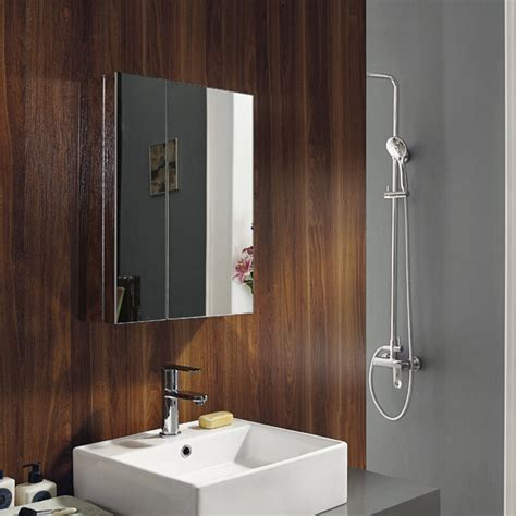 bathroom mirror with storage new stainless steel wall mounted bathroom storage cabinet mirror door ebay