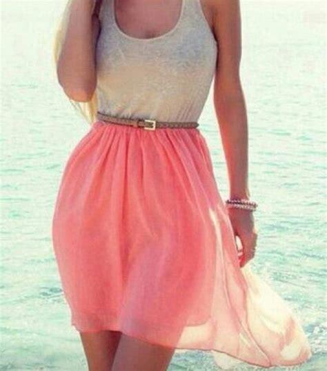 skirt dress dress pink grey belt tank top