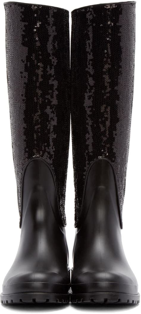 rubber st artwork laurent festival sequin rubber boots in black lyst