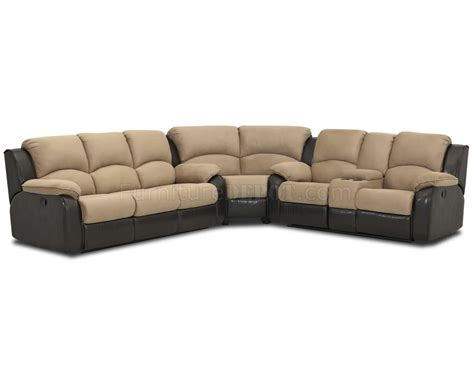 Reclinable Sectional Sofas Two Tone Chocolate Fabric Reclining Sectional Sofa