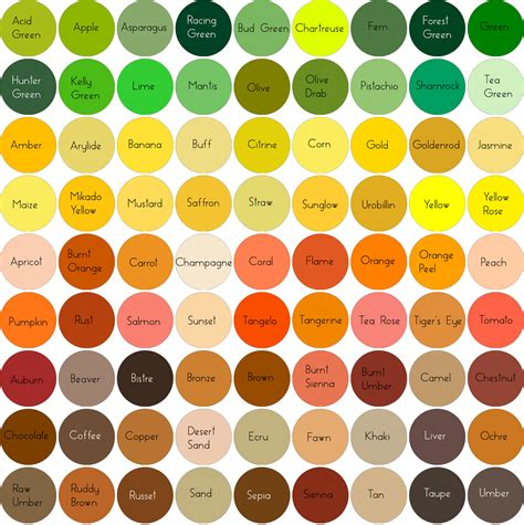shades of orange color chart the gallery for gt yellow orange color names