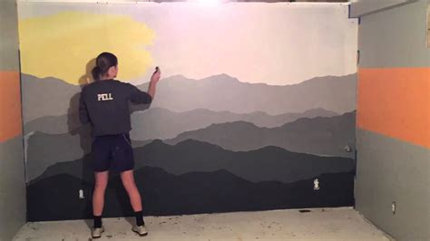 Wall Mural Painting mountain mural time lapse youtube