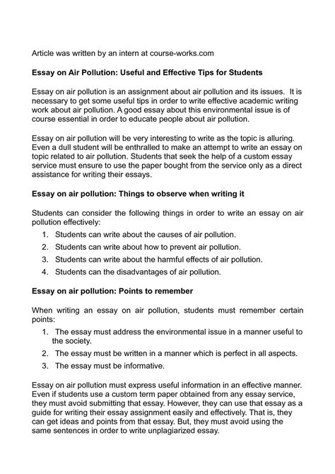 Air Pollution Essays by Calam 233 O Essay On Air Pollution Useful And Effective Tips For Students